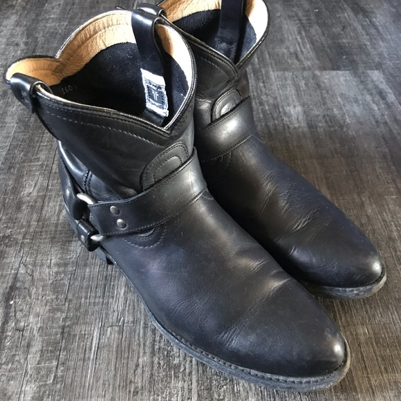 Frye black leather ankle booties